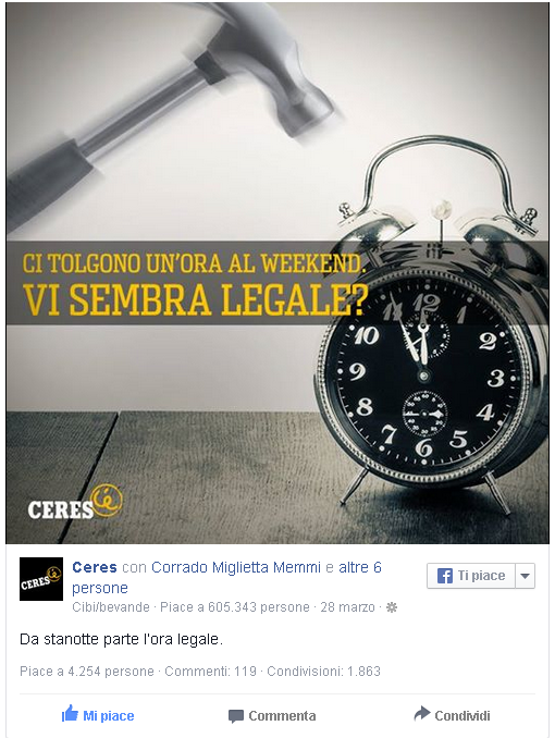 Content Marketing. ceres e l'ora legale